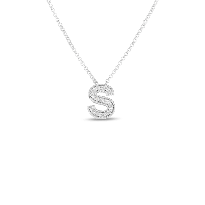 Product 18k Gold & Diamond Princess Initial 'S' Pendant On Chain