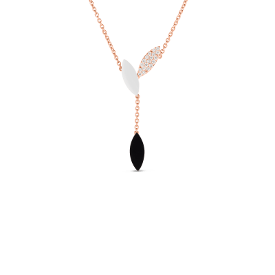 Product 18kt Gold Petal Pendant With Diamonds, Mother Of Pearl And Black Jade