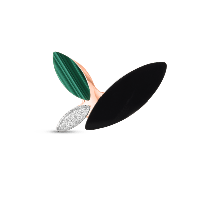 Product 18kt Gold Petal Ring With Diamonds, Malachite And Black Jade