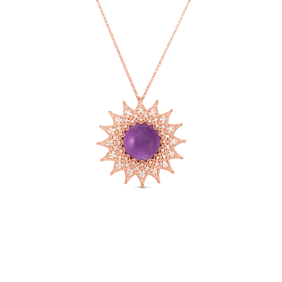 18K GOLD, DIAMOND & AMETHYST MEDIUM ROMAN BAROCCO SUNBURST PENDANT