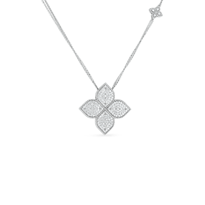 Product 18k Gold & Diamond Large Princess Flower Pendant On Long Chain