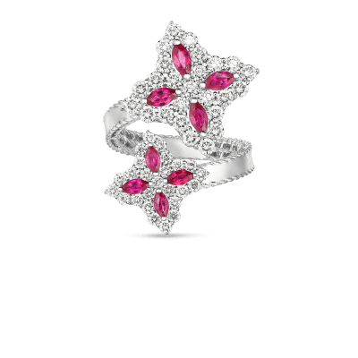 Product 18k Gold, Diamond & Ruby Princess Flower Bypass Ring
