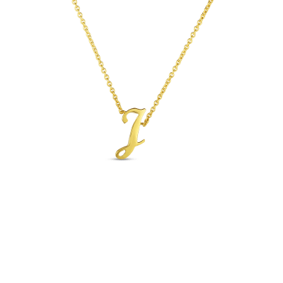 Product 18k Small Script Initial 'J' Pendant On Chain