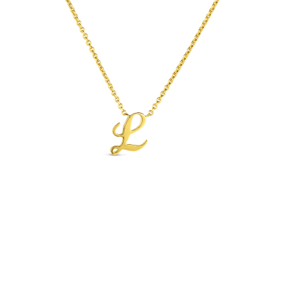 Product 18k Small Script Initial 'L' Pendant On Chain