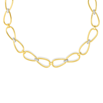 Product 18k Stirrup Link Collar W. Dia Accent