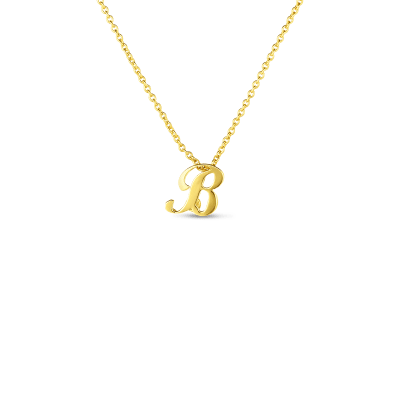 Product 18k Small Script Initial 'B' Pendant On Chain
