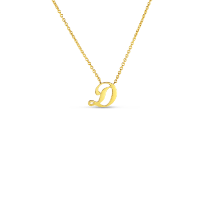 Product 18k Small Script Initial 'D' Pendant On Chain