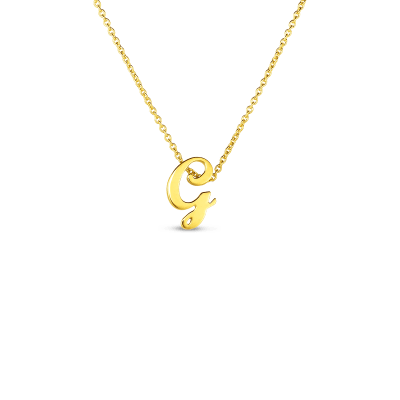 Product 18k Small Script Initial 'G' Pendant On Chain