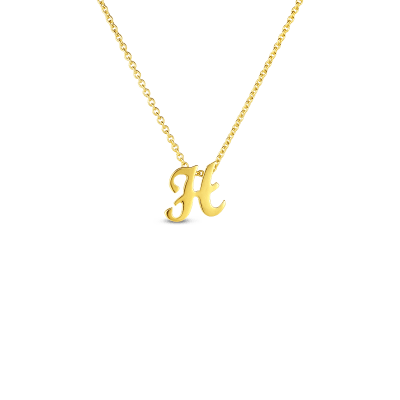 Product 18k Small Script Initial 'H' Pendant On Chain