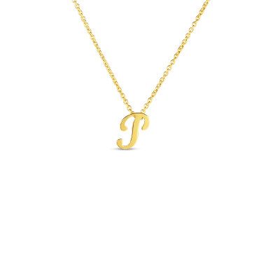 Product 18k Small Script Initial 'P' Pendant On Chain