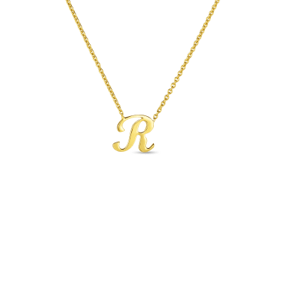Product 18k Small Script Initial 'R' Pendant On Chain