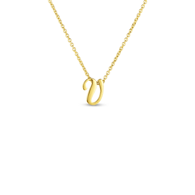 Product 18k Small Script Initial 'V' Pendant On Chain