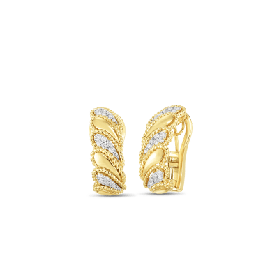 18K YW DIAMOND BYZANTINE BAROCCO POLISHED LEAF EARRING