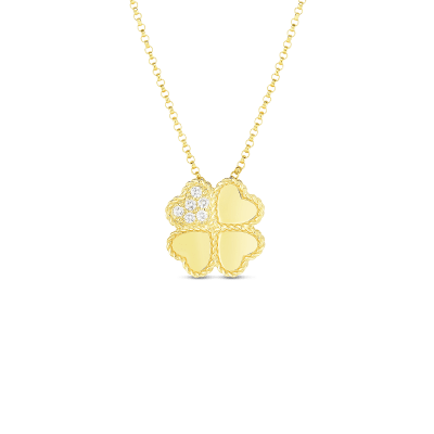 18K PRINCESS FOUR LEAF CLOVER PENDANT WITH DIAMOND ACCENT ON CHAIN