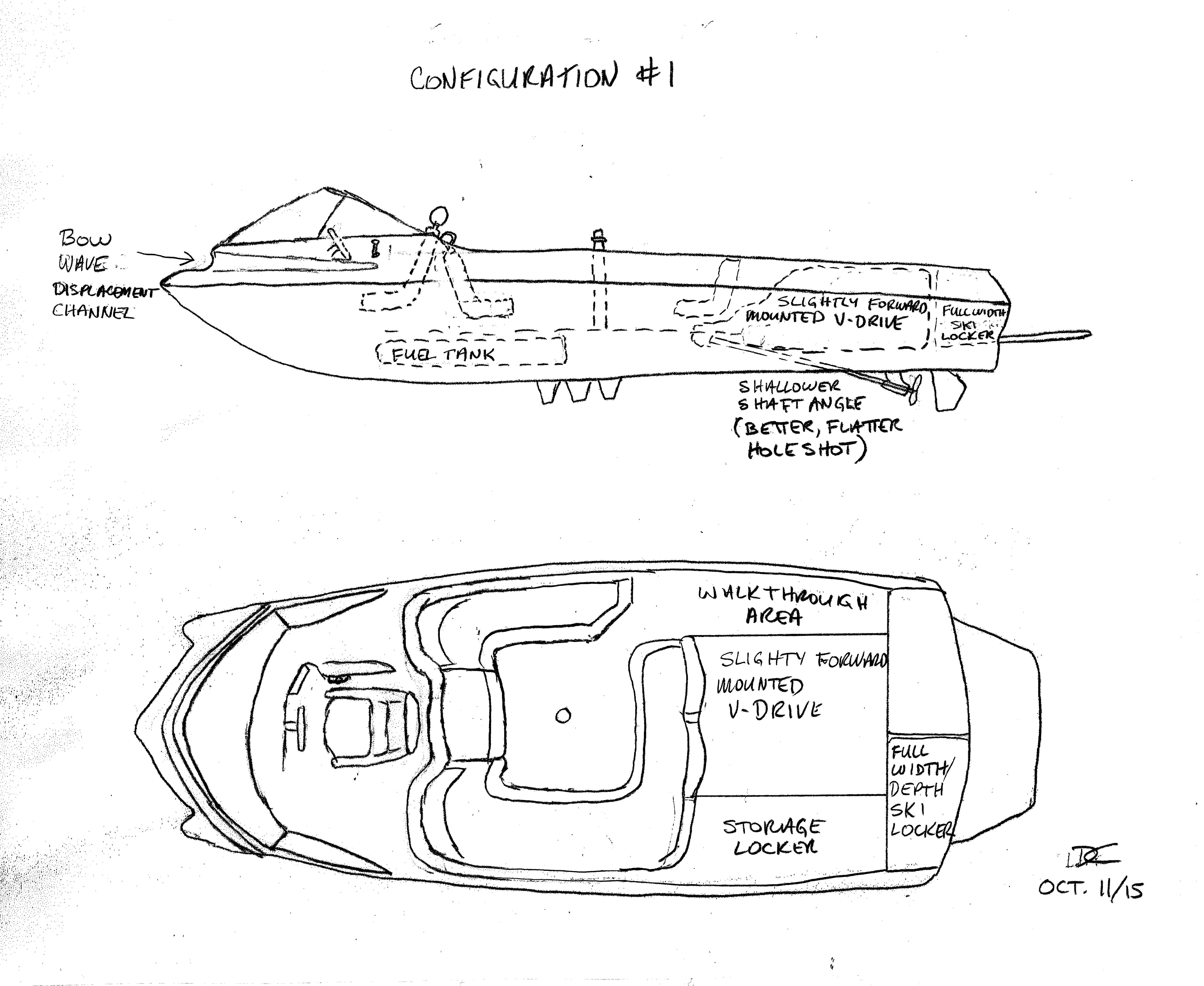Slalom Boat with center/forward driving position