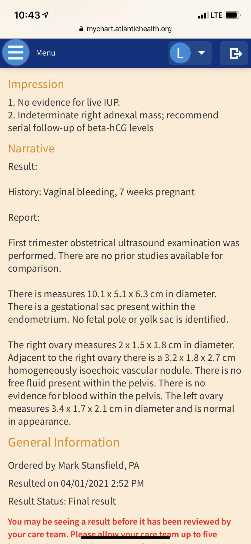 Mychart Atlantichealth Org : mychart, atlantichealth, Possible, Ectopic, Miscarriage, Report