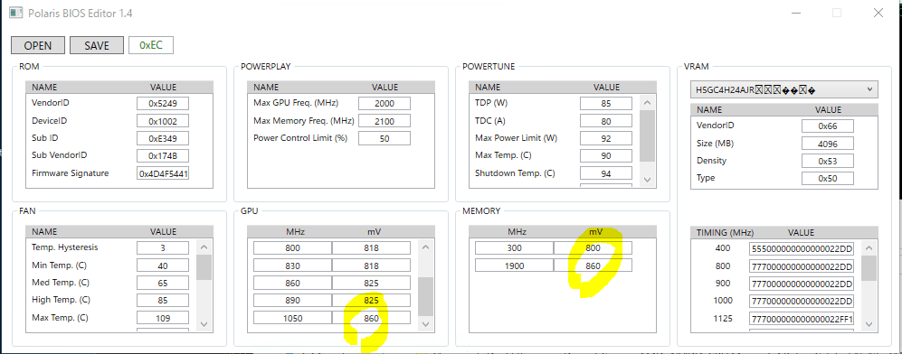 Why can't change the memory voltage with Polaris Bios
