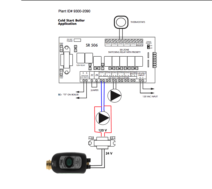 wiring in a taco zone valve to a taco switch relay