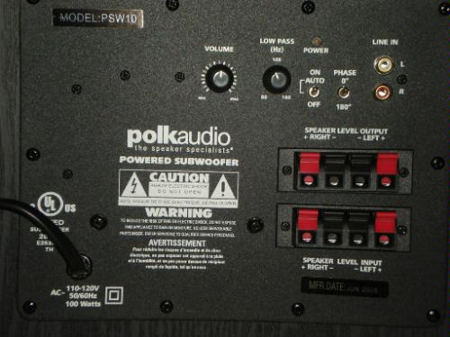 psw10 subwoofer hookup — polk audio