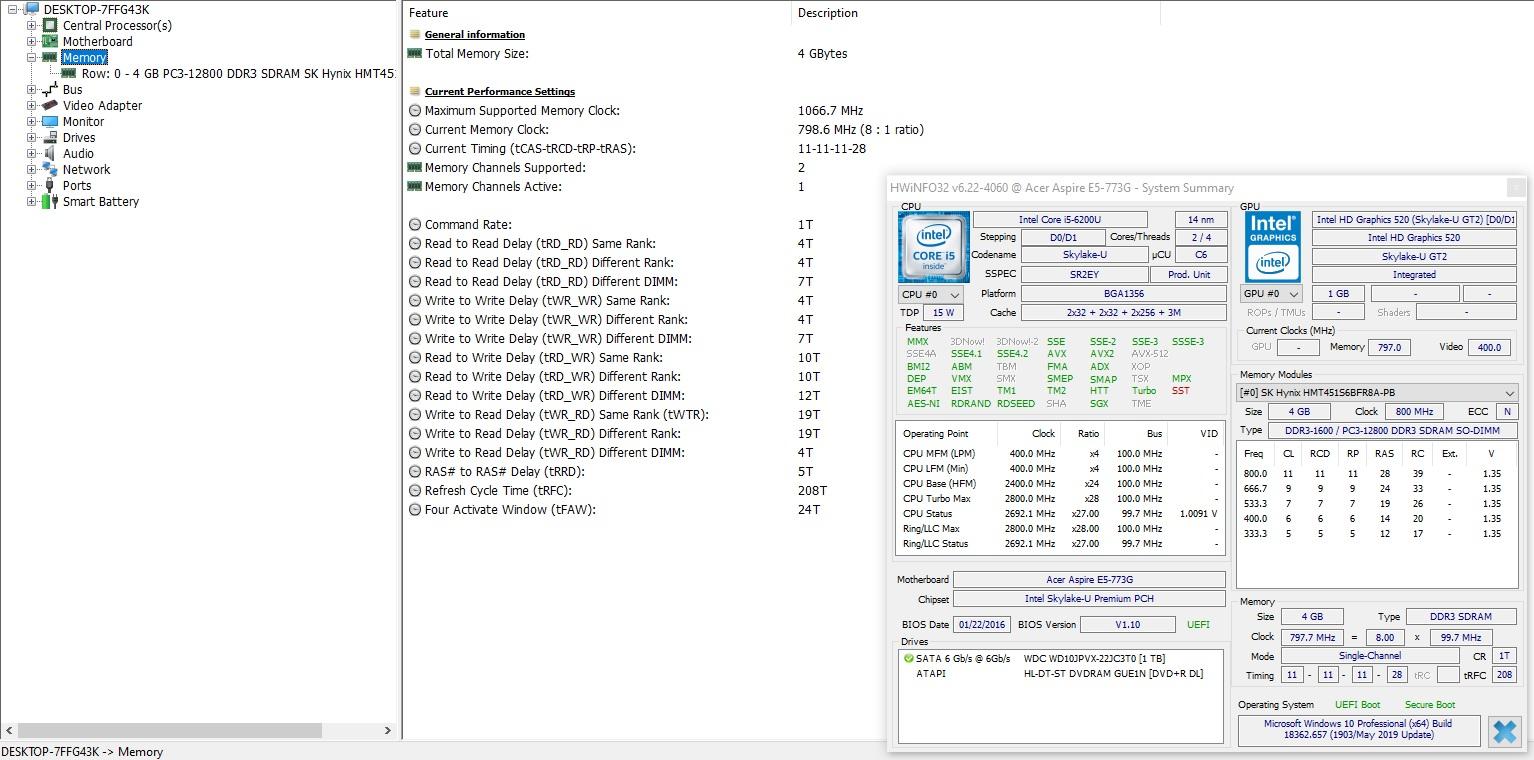 Acer Aspire E5-773G-5665(Ukraine ) RAM , ROM, SSD — Acer