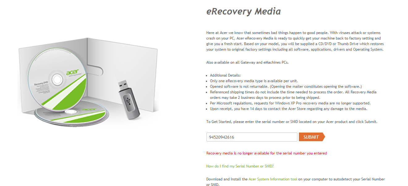 emachines e627 notebook recovery