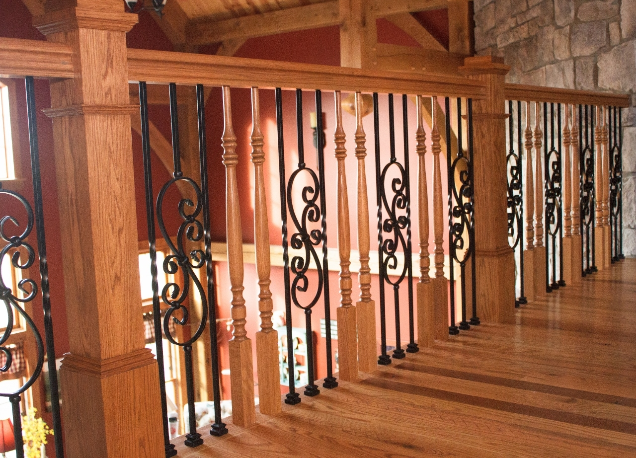 Mixing Metals And Woods | Wood Handrail With Iron Balusters | Stairway | Wooden | Copper | Cast Iron | Landing