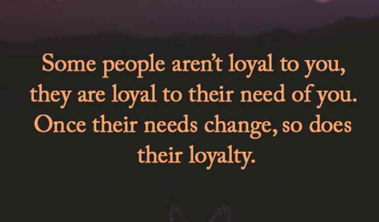Loyal to you.