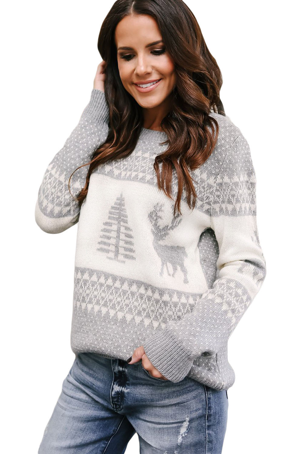 Wholesale Sweaters Amp Cardigans Cheap Grey White Reindeer And Christmas Tree Sweater Online
