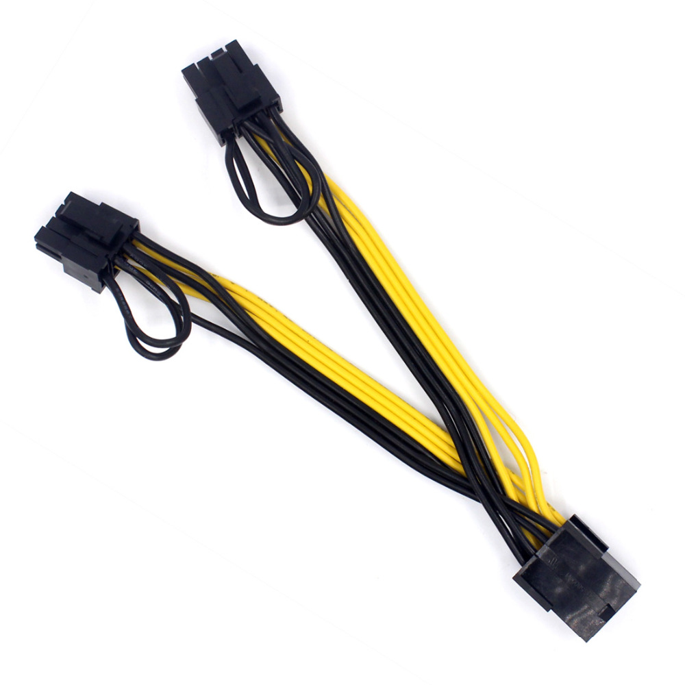 hight resolution of us 0 97 pci e pcie 8p female to 2 port dual 8pin 6 2p male gpu graphics video card power cable cord 18awg wire www xt xinte com
