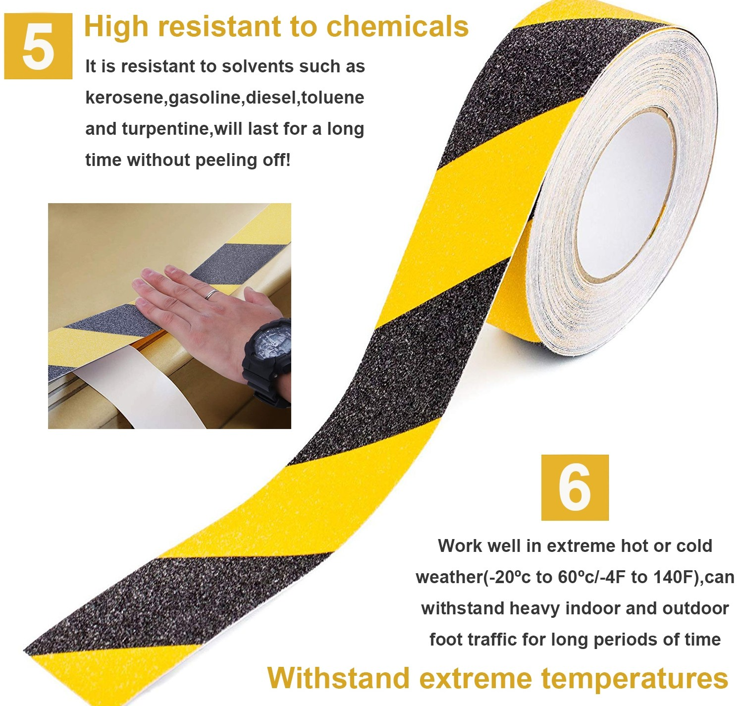 Us 19 99 Reliancer Anti Slip Safety Grip Tape 2Inx60Ft Non Skid | Reflective Tape For Outdoor Steps | Hazard Warning Tape | Yellow | Self Adhesive | Retro Reflective | Concrete Steps