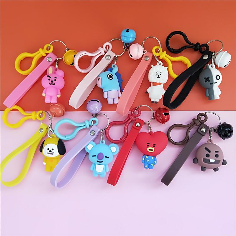 BT21 pvc cartoon keychain with bell. BTS cartoon key holder for gift (娃娃機掛件)