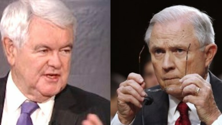 Newt Gingrich and Jeff Sessions via Screen Grab and Washington Times