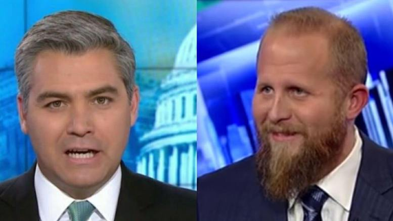 Brad Parscale, Trump 2020 Campaign Manager, lobs invisible bullets back at Acosta. Photo credit to US4Trump compilation of FOX and CNN screen shots.