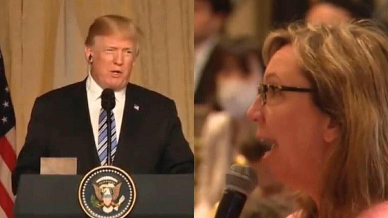 President Trump responds to liberal reporter during presser with Japanese Prime Minister, Shinzo Abe. Photo credit to screen capture by US4Trump.