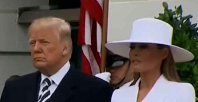 FLOTUS and POTUS welcome President and First Lady of France in White House ceremony. Photo credit to US4Trump screen capture.