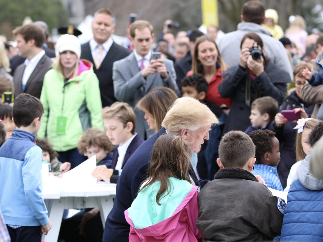 Breitbart President Trump, First Lady Melania, and their son Barron visit with children at the Easter Egg roll (Credit: Michelle Moons/Breitbart News)