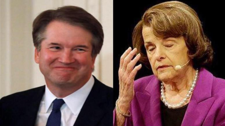 Feinstein pulled out a dud for the 11th hour. Photo credit to US4Trump compilation with (L) The Atlantic & (R) Twitchy.
