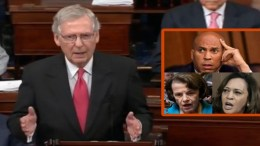 Mitch McConnell Senate Majority Leader spoke prior to the cloture vote to advance the nomination to a Senate full vote. Photo credit to US4Trump compilation with screen grabs.