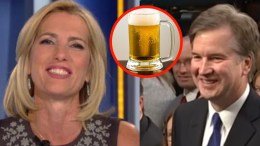 I like beer! Cheers! Ingraham celebrates ahead of final Kavanaugh confirmation hearing. Photo credit to US4Trump compilation with Screen Grabs, Dollar Tree.