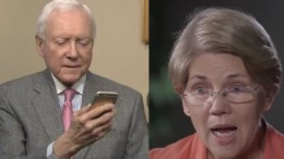 Senator Orrin Hatch (R-UT) responded to Senator Warren's (D-MA) DNA test. Photo credit to US4Trump compilation with Twitter and screen shot.