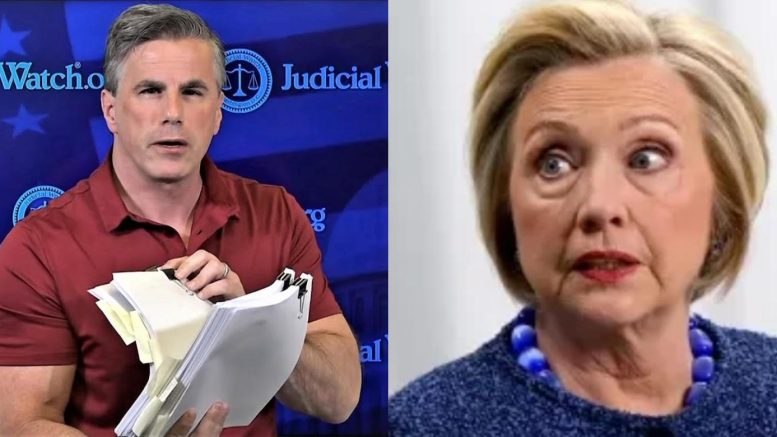 "Tom Fitton, President of Judicial Watch receives 288 pages of the ""deleted"" emails Hillary tried to destroy. Photo credit to US4Trump compilation with screen shots."
