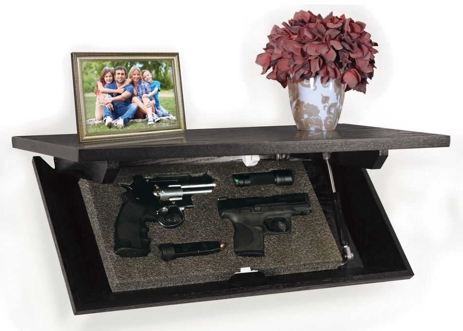 A hidden gun safe, a gun concealment shelf with space for two pistols. Always be prepared for a home invasion.
