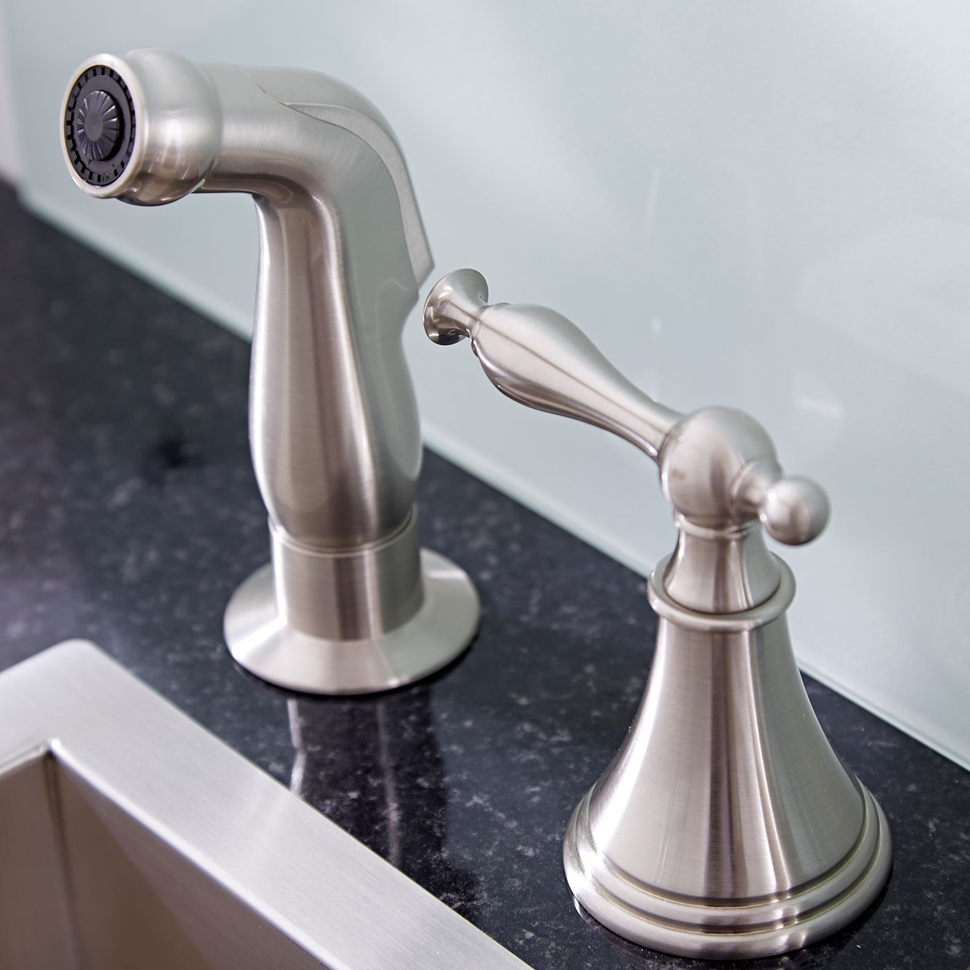 widespread kitchen faucet built in table with side spray