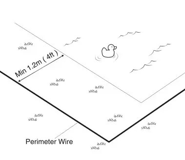 How should I install the Perimeter Wire near a swimming