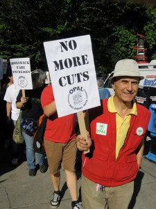 Protesting TriMet service cuts last month. ##http://blogs.wweek.com/news/2010/09/01/protesters-rally-in-response-to-trimet-fare-increase/##Willamette Week##