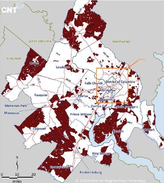 The Parts Of The D C Region That Are Affordable If You Only Consider Housing Costs But Become Unaffordable Once You Add In Transport Source Cnt
