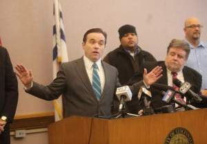 Cincinnati Mayor John Cranley said he would allow the city's streetcar project to continue, if private funds to operate it could be found. Image: ##http://news.cincinnati.com/article/20131212/NEWS/312120035/Cranley-making-major-streetcar-announcement-today&nocache=1## Cincinnati Enquirer##