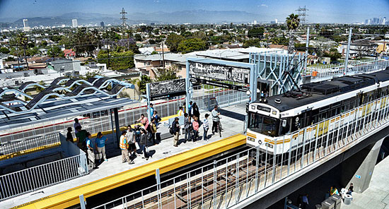 """USC researchers called the changed in travel behavior following the introduction of L.A.'s Expo light rail line """"striking."""" Image: ##http://zev.lacounty.gov/news/transportation/bus-rail/expo-orange-line-ridership-on-a-roll## L.A. County##"""