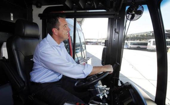 UTA board chair, State Rep. Greg Hughes, sits in the driver's seat of a UTA bus. Photo: Ravell Call/##http://m.deseretnews.com/photo/865583219##Deseret News##