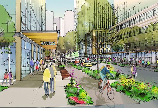 Amazon gets a Streetsie for building this bike lane in front of its Seattle HQ. Image: ##http://seattletimes.com/html/localnews/2021622545_amazoncycletracksxml.html##Seattle Times##